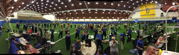 UDMB inside the UD Field House having a full rehearsal prior to the 11/1 game,